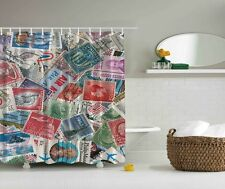 Air Mail Postage Digital Print Shower Curtain Stamps Collectors Graphic Curtain