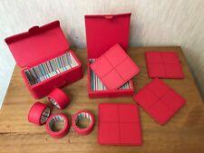 4 x Bonded Leather Napkin Rings & 4 x Square Coasters Set