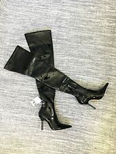 Zara Black Faux Patent High Heeled Over The Knee Boots UK3 EU36 US6 # 904*