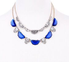 SAPPHIRE BLUE SILVER VINTAGE ART DECO Diamante Crystal Rhinestone Necklace Set