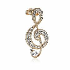 Ashiana Classy Diamond Gold Music Notes Ear Cuff Ear Wrap Earring (Left Ear)