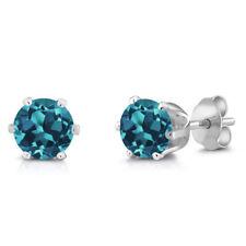 1.50 Ct Round 6mm London Blue Topaz Brass Silver Plated Brass Stud Earrings
