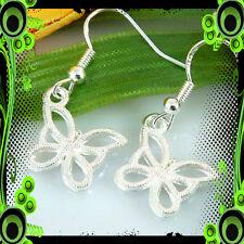 Tibetan Silver Dangle Butterfly Earrings/ Sterling Silver Hook/ Rubber Backs