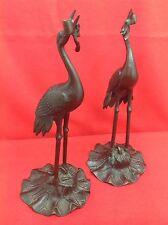 JAPON Ère Meiji 明治時代 XIXe 19° Paire échassier grue héron Porte Encens Bronze