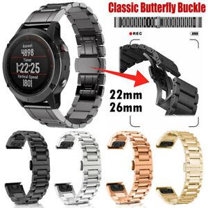 For Garmin Fenix 6X Pro Solar Quick Fits Stainless Steel Watch Wrist Band Strap