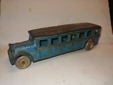 "Vintage 1920s Cast Iron Arcade Fageol Bus Toy,8"" Long,Blue,All Original,Complete"
