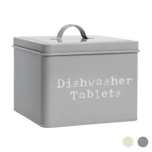 Dishwasher Tablets Storage Container Box Vintage Tin Metal Home Kitchen Grey
