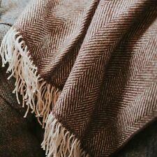 The Weaving Shed UK Wool Blanket Hickory Brown Herringbone Throw