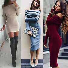 Winter Women Off Shoulder Bandage Bodycon Party Long Sleeve Sweater Jumper Dress