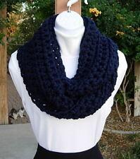 Dark Blue Navy INFINITY SCARF Solid Wool Blend Handmade Crochet Knit Winter Cowl