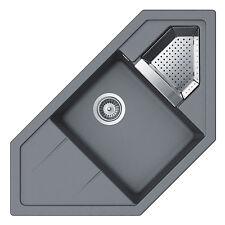 SCHOCK Primus C-150 Croma Grau Eckspüle  Spüle Granitspüle  Resteschale