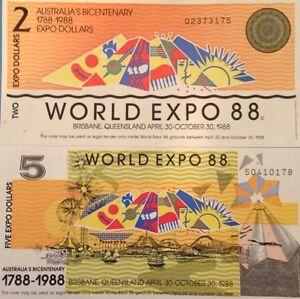 AUSTRALIA 1988 WORLD EXPO 2 & 5 DOLLAR BICENTENARY UNC NOTE PAIR USA SELLER !!!
