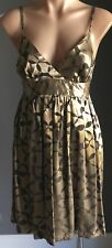Retro Gold & Pewter TOPSHOP Empire Waist Tie Back Sleeveless Dress Size 10