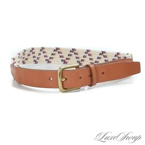 LNWOT Folk Made in England Cream Multi Zig Zag Stretch Thick Leather Tab Belt 30
