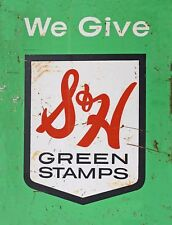 "TIN SIGN ""S&H Green Stamps"" Vintage Art Deco Garage Wall Decor"
