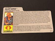 HASBRO VINTAGE GI JOE COBRA ALLEY VIPER URBAN ASSAULT TROOPER BIO FILE CARD H-1