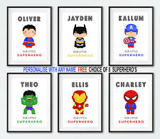 Personalised Superhero Wall Art Print | Boys Bedroom Pictures | Nursery Decor