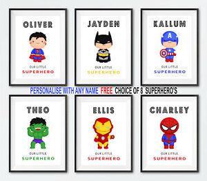 Personalised Superhero Wall Art Print   Boys Bedroom Pictures   Nursery Decor
