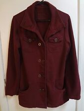 PrAna Jacket Wine Red Maroon Pea Coat Cotton Soft L Outdoor Athletic Button