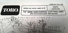 """1992  TORO 72"""" Side Discharge Cutting Unit Parts Book"""