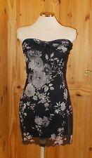 LIPSY black grey floral stretch chiffon short strapless party cocktail dress 10