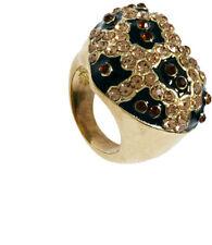 EX BLING RIVER ISLAND GOLD/ANIMAL ENCRUSTED  DIAMOND HEART RING LGE