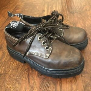 London Underground Leather Punk Goth Chunky Oxford Shoes Brown Womens Size 5.5