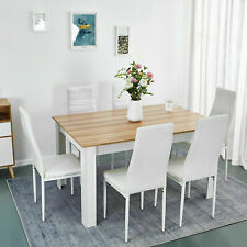 Wooden Dining Table Set Oak with 6 Faux Leather Chairs Seat Kitchen Furniture