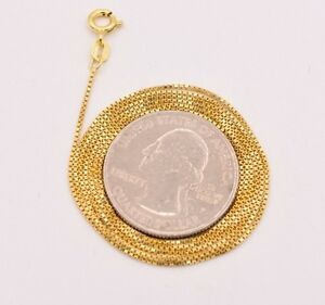Technibond Italian Box Chain Necklace 14K Yellow Gold Clad Sterling Silver 925