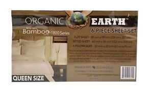 Organic Earth Queen Aloe Vera Bamboo 1800 Series 6 Piece Sheet Set Wrinkle Free