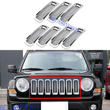 7pcs Chrome Car Front Mesh Grille Insert Trim Frame For 2011-2017 Jeep Patriot