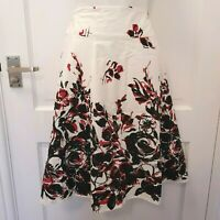 M&Co A-Line White Red Black Abstract Floral Skirt Summer 16 Cotton NEW RRP £32