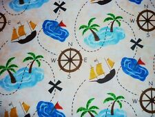 CLEARANCE FQ PIRATE TREASURE ISLAND MAP FABRIC