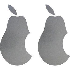 2 Aufkleber 10cm silber Birne Apple verarsche Tablet Laptop Auto 4061963039182