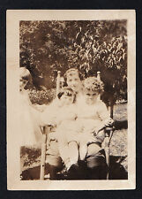 Old Vintage Antique Photograph Mom Holding Children in Rocking Chair In Yard