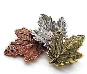 Herbst Antik Blätter bronze silber gold Blatt Damen Blogger Brosche Anstecknadel