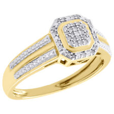 Right Hand Cocktail Ring 0.10 Ct. 10K Yellow Gold Pave Set Diamond Octagon