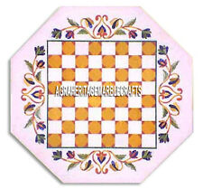 White Marble Chess Coffee Table Top Handmade Floral Inlay Arts Furniture Decor