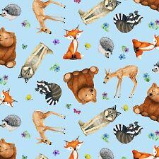 Magic Forest Fabric Blue Animals All Over Elizabeths Studio Fox Bear Raccoon