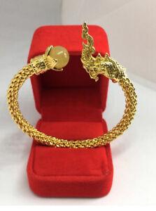 Naga Dragon Bracelet Golden Rutilated Quart Gemstone Talisman Bangle Thai Amulet