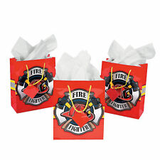 Medium Firefighter Party Gift Bags With Tags - Party Supplies - 12 Pieces