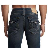 True Religion Men's Straight Leg Worls Tour Jeans w/ Flap Pockets in Dirty Barn