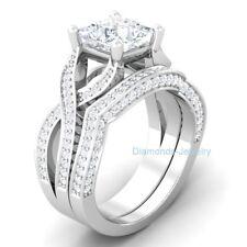 Wedding Ring Set 14K White Gold Certified 3.55Ct White Princess Cut Engagement