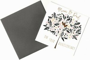 'MUM & DAD' ON YOUR ANNIVERSARY GREETING CARD - HIGH FOILED - QUALITY - FREE P&P
