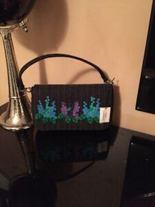 NWT Authentic Lulu Guinness Handbag Foxglove Flap Clutch Grey Pinstripe Sm