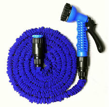100FT Expandable Flexible Blue Color Garden Water Hose With Spray Nozzle Head