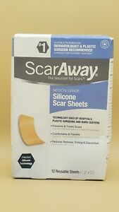 ScarAway Professional Grade Silicone Scar Treatment 12 Sheets Exp 07/2025