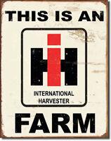 IH Farm Sign International Harvester Rustic Vintage Metal Advertising Tin USA