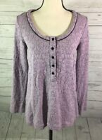 SOFT SURROUNDINGS Tunic Top Sweater Womens Sz Small Purple Scoop Henley Textured