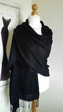 100% Viscose Plain Pashmina Scarf Stole Wrap Shawl High Quality Black Ladies New